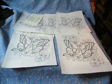 P. Ready To Paint 5 Butterflies Flowers 0302 Each about 6 x 8 Inches
