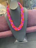 Vintage Wide Woven Braided Seed Bead Bib Statement Necklace Pink Orange 22""