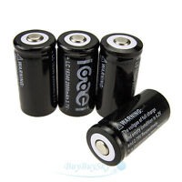 New 4 x 2000Mah 3.7V 16340 CR123A 123A CR123 Li-ion Rechargeable Battery Cell