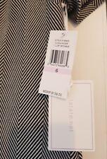 bnwt 1.state dress 60s style monochrome black white chevron size uk10 rrp$139