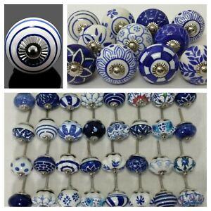 Stylish Navy Blue White Stripe Ceramic Door Knobs Cabinet Wardrobe Pull Handles