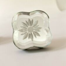 3 Drawer Cabinet Pull Knob Etched Glass Flower Mirror Vtg Venetian Look