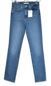 Womens Levis HIGH RISE STRAIGHT 724 Blue PREMIUM Stretch Jeans 10 W28 L32