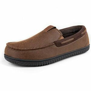 Men's Suede Moccasin Slippers, Durable House shoes with High-density Foam  Camel