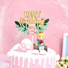 Glitter Flower Green Leaf Happy Birthday Cupcake Dessert Cake Topper Beautiful b