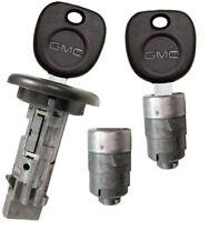 NEW GMC OEM IGNITION SWITCH LOCK CYLINDER + 2 DOOR LOCK CYLINDER + 2 LOGO KEYS