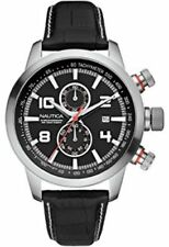 Nautica NCT 400 Men's Chronograph Watch A18546G Black Dial Black Leather Strap