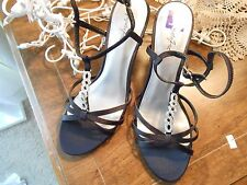 Ladies Black  Strappy Heels , by Jacqueline Ferrar, Sz. 8 (M,B) Sparkle trim