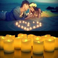 12/24x LED Bougie à Piles Cire Lumière Thé Lampe Décoration Mariage Anniversaire