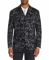 Tallia Mens Blazer Black Size Medium M Leopard Camo Print Slim Fit $198 #024