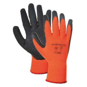 Portwest A140 Thermal Grip Glove  Latex Palm  Hi Vis cold coated grip buiders