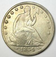 1854 Arrows Seated Liberty Half Dollar 50C - VF / XF Details - Rare Date Coin!