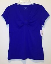 Dressbarn V Neck Womens Shirt  Blue Small New Short Sleeve Summer Spring
