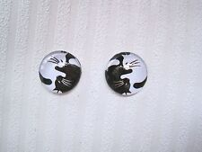 YIN YANG CATS BLACK & WHITE 14mm Domed Glass Stud Earrings Pair of Cat Monochrom