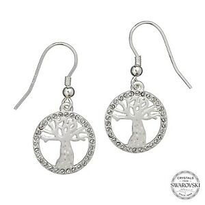Harry Potter Sterling Silver Whomping Willow Tree Swarovski Crystal Earrings