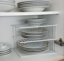 3 TIER WHITE CORNER KITCHEN PLATE RACK TIDY CUPBOARD SHELF INSERT ORGANISER NEW