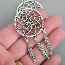"5 Silver Feather Dream Catcher Charm Pendants, 3"" long, chs3921"