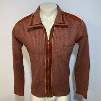 Vtg 50s 60s CAMPUS Esprit Sweater Jacket Zip Mid Century Rockabilly MENS MEDIUM