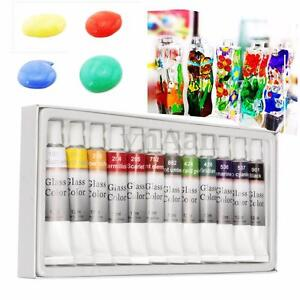 NEW 12 Color Stain Glass Paint Tubes 12ml set Glass Non Toxic Painting ki