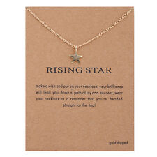 Gold Unicorn Feather Circle Flower Star Heart Sun Alloy Pendant Necklace Jewelry Wish( With Card)