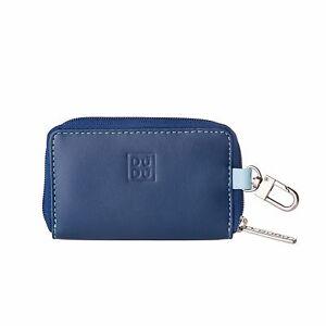 DuDu Portachiavi e Portamonete Blu multicolore in Vera Pelle con cerniera zip