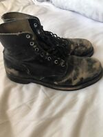 Distressed Leather Boots Biker Rocker Motorcycle Vintage like Redwing Military
