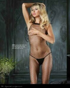 Black  Fishnet Halter Bodystocking Leg Avenue Body Industrial High neck 8466