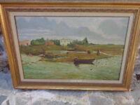 olio su tela raffigurante paesaggio epoca anni 40/50