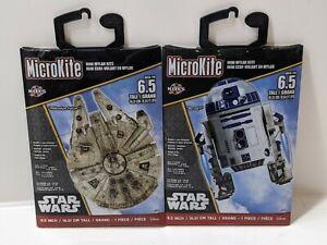 """Lot of 2 STAR WARS R2-D2 MINI Mylar Kite 6.5"""" MicroKite Kites Millennium Falcon"""