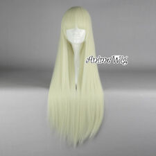 Lolita Light Blonde Long 80CM Straight Fashion Cosplay Wig with Bangs + Free Cap