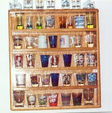 New listing oak 35 shot glass display shelf case plexi front acrylic
