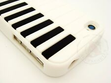 White Piano Rubber SILICONE Skin Soft Gel Case Cover for Apple iPhone 4 4S