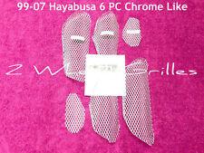 2002 02 HAYABUSA GSXR 1300 6 PC CHROME LIKE FAIRING SCREENS GRILLS VENTS MESH