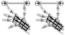 Nipple Shields Skeleton Bone Hand Barbell Rings (s171)