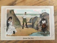 Vintage Postcard Between Two Fires Comedy Posted 1910 Wisbech