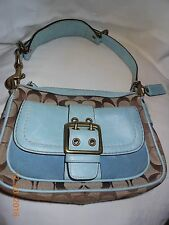 Coach bag, Leather and cloth, buckles, blue and brown