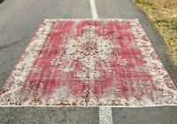Oushak Hand Knotted Red Carpet Traditional Oriental Bohemian Wool Area Rug 7x9ft