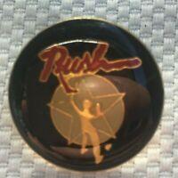 Vintage Rush Music Rock n Roll Band Lapel Hat Pin Black Gold Tone Enamel