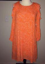 Old Navy Women's Orange Paisley Ruffled Cold Shoulder Shift Dress Large NWT