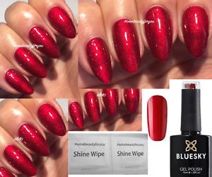 BLUESKY GEL POLISH RED TARTAN PUNK 80607 NAIL UV LED SOAK OFF, ANY 2=FILE+WIPES