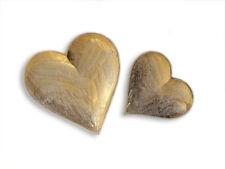 Fair Trade Heart Shaped Gold Wooden Decorative Dish Set of 2