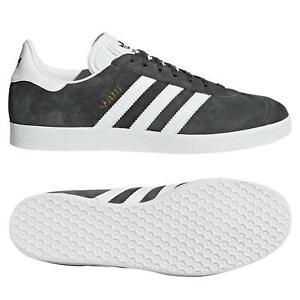 Adidas Originaux HOMME Gazelle Chaussures Gris Foncé Baskets Kicks Rétro