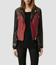 All Saints Frith biker jacket in rust black grey lamb leather 12 VGC worn once