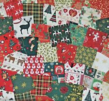 "30 x 4"" CHRISTMAS PATCHWORK FABRIC SQUARES CHARM PACK 100% COTTON 10CM"