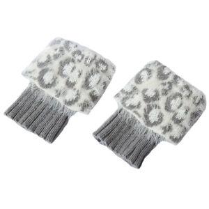 Women Animal Leopard Printed Boot Cuffs Short Socks Knitted Warm Leg Warmers