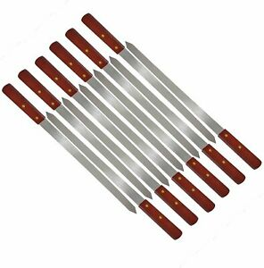 Large Barbecue Skewers Flat Extra Wide Kebab Shish BBQ Heavy Duty Strong Grill