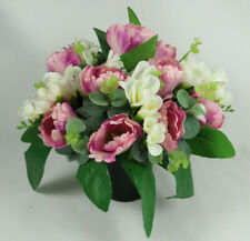 Grave Pot Flower arrangement all round in  in memorial Crem pot//vase Free P/&P