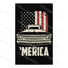 1967 Chevy C10 Pickup Truck 'Merica 67 C10 Flag Garage Decor Banner Man Cave
