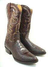 EL DORADO MEN'S 12 D HANDMADE OSTRICH LEG BRASS COWBOY BOOTS MEDIUM TOE
