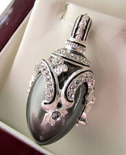 SALE ! SUPERB RUSSIAN EGG PENDANT STERLING SILVER 925 w/ BLACK PEARL and ENAMEL